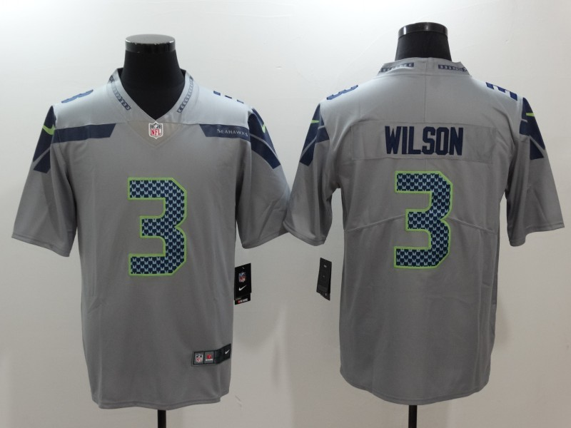 Nike Seahawks 3 Russell Wilson Gray Vapor Untouchable Player Limited Jersey