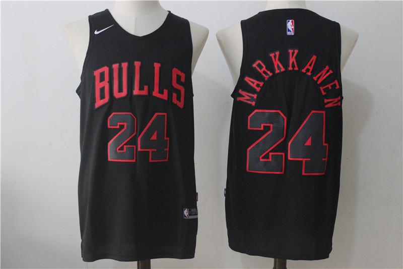 Bulls 24 Lauri Markkanen Black Nike Stitched Jersey
