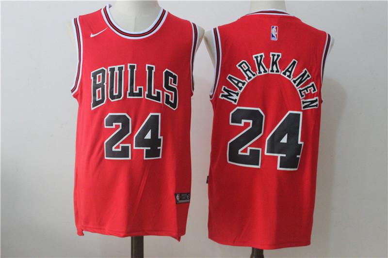 Bulls 24 Lauri Markkanen Red Nike Stitched Jersey