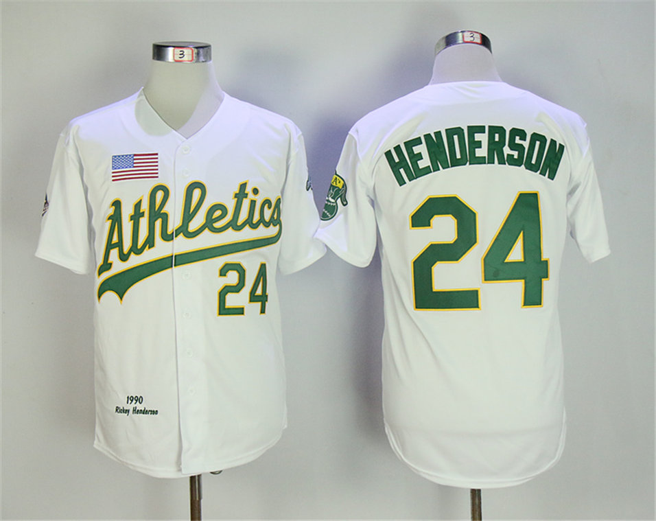 Athletics 24 Rickey Henderson White 1990 Throwback Jersey