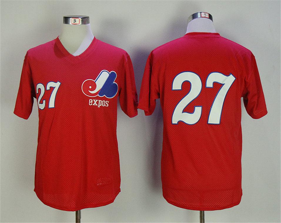 Expos 27 Vladimir Guerrero Red Mesh BP Jersey