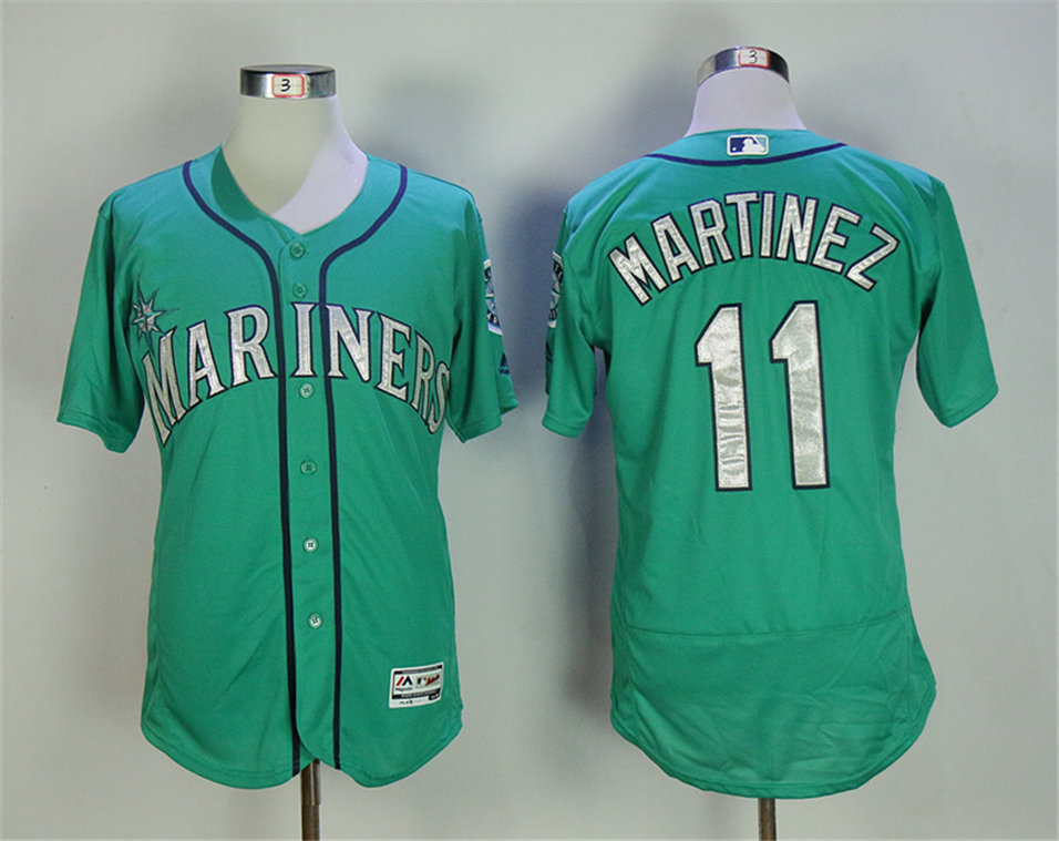 Mariners 11 Edgar Martinez Green Flexbase Jersey