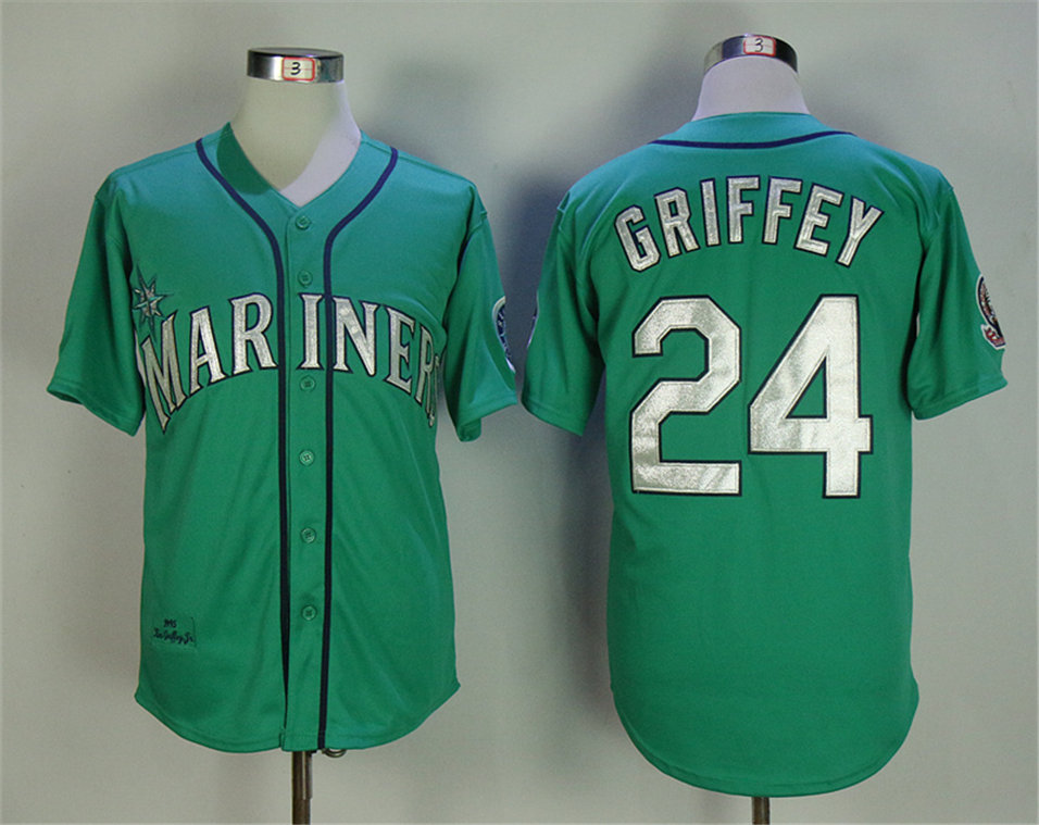 Mariners 24 Ken Griffey Jr. Green 1995 Throwback Jersey