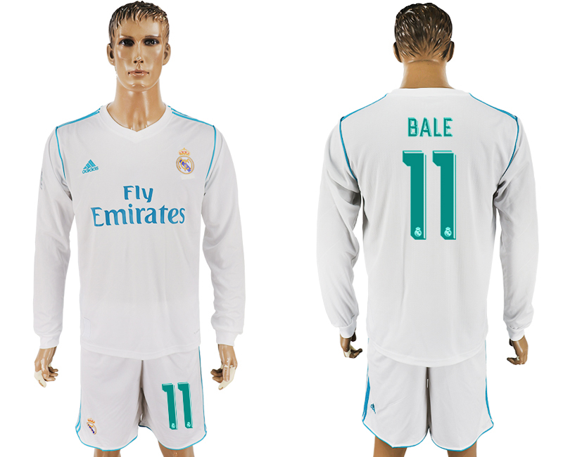 2017-18 Real Madrid 11 BALE Home Long Sleeve Soccer Jersey