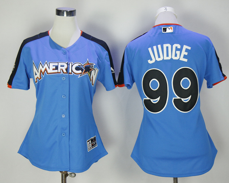American League 99 Aaron Judge Blue Women 2017 MLB All-Star Game Home Run Derby Jersey