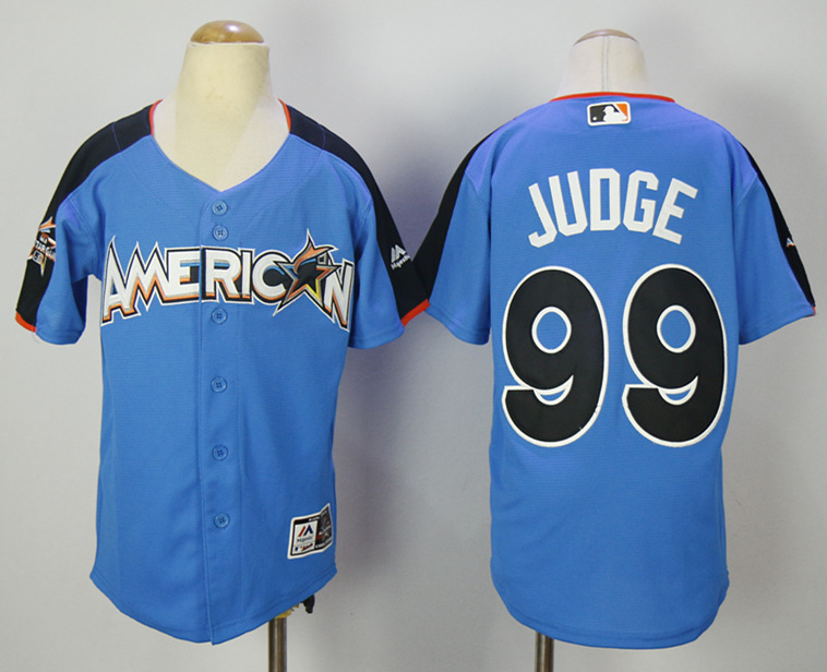 American League 99 Aaron Judge Blue Youth 2017 MLB All-Star Game Home Run Derby Jersey