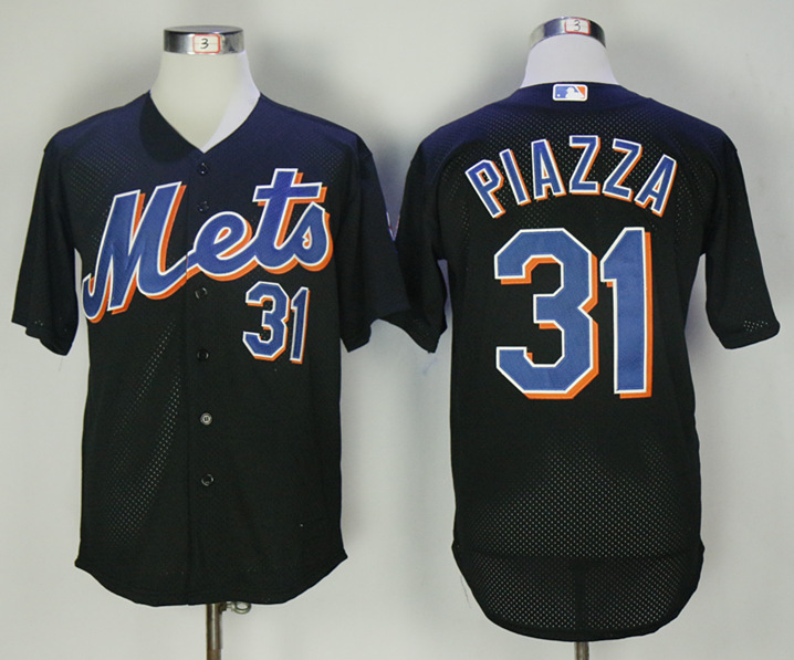 Mets 31 Mike Piazza Black 2000 BP Jersey