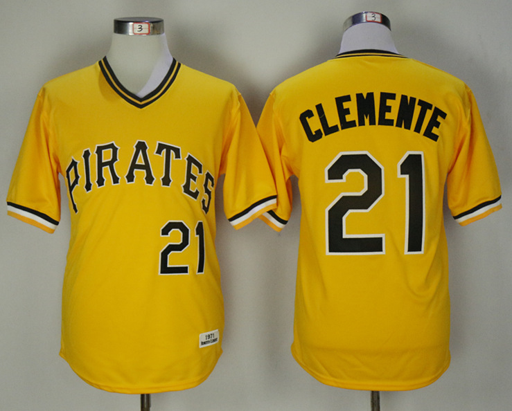 Pirates 21 Roberto Clemente Gold Alternate 1971 Jersey