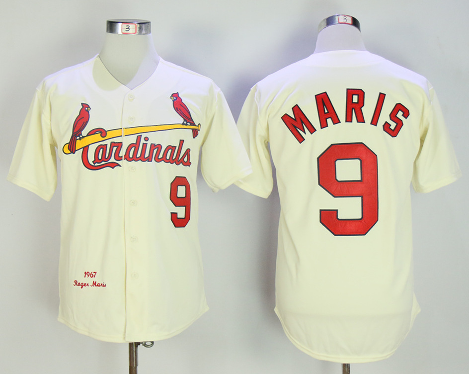 Cardinals 9 Roger Maris Cream 1967 Mitchell & Ness Throwback Jersey