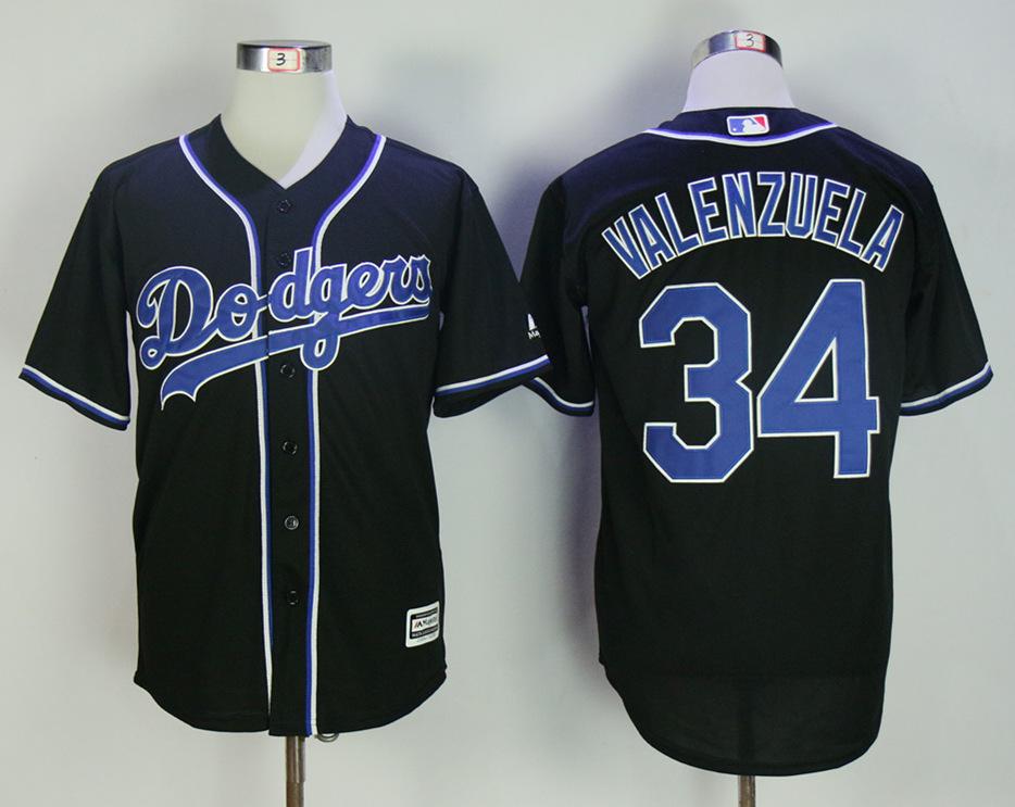 Dodgers 34 Fernando Valenzuela Black Cool Base Jersey