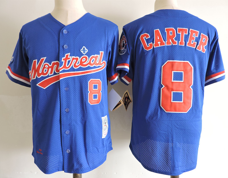 Expos 8 Gary Carter Blue Cooperstown Collection Mesh Batting Practice Jersey
