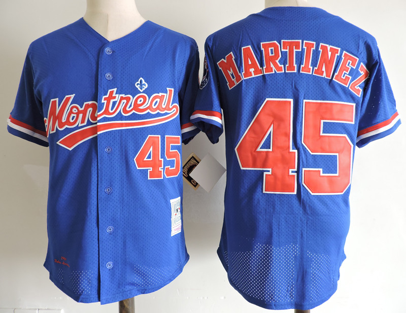 Expos 45 Pedro Martinez Blue Cooperstown Collection Mesh Batting Practice Jersey