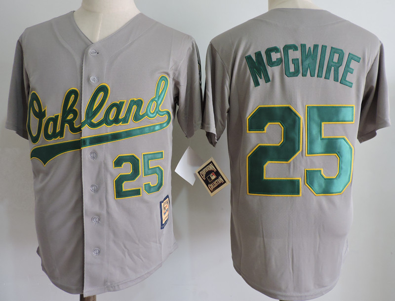 Athletics 25 Mark McGwire Gray Cooperstown Collection Jersey