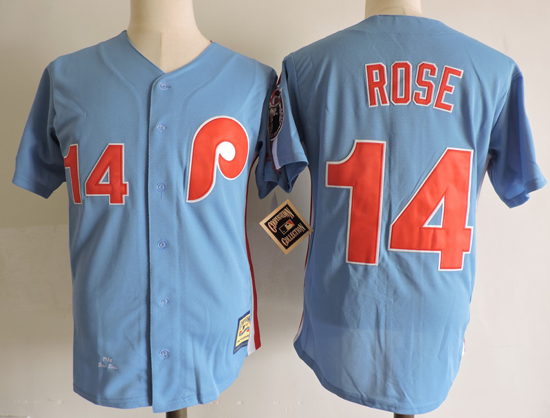 Phillies 14 Pete Rose Blue Cooperstown Collection Jersey