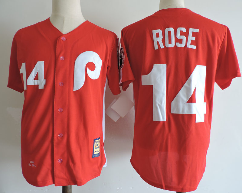 Phillies 14 Pete Rose Red Cooperstown Collection Jersey