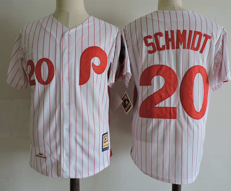 Phillies 20 Mike Schmidt White Cooperstown Collection Jersey