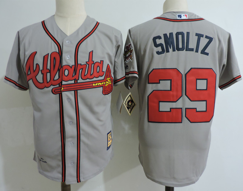 Braves 29 John Smoltz Gray Cooperstown Collection Jersey