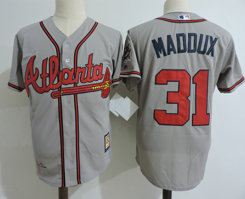 Braves 31 Greg Maddux Gray Cooperstown Collection Jersey
