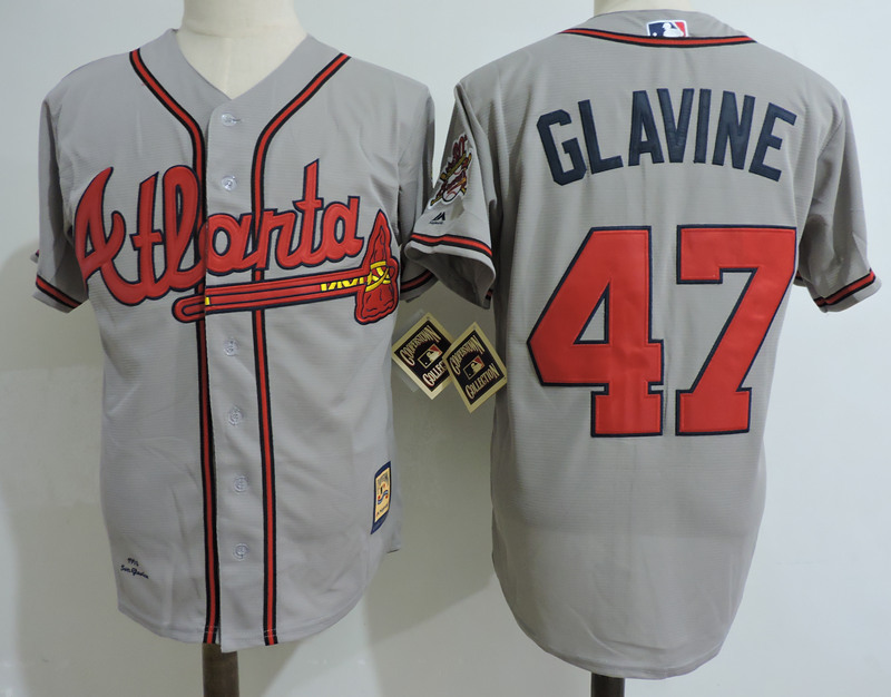Braves 47 Tom Glavine Gray Cooperstown Collection Jersey