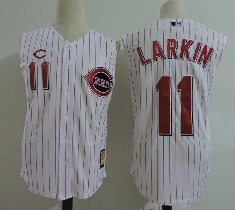 Reds 11 Barry Larkin White Cooperstown Collection Player Jersey