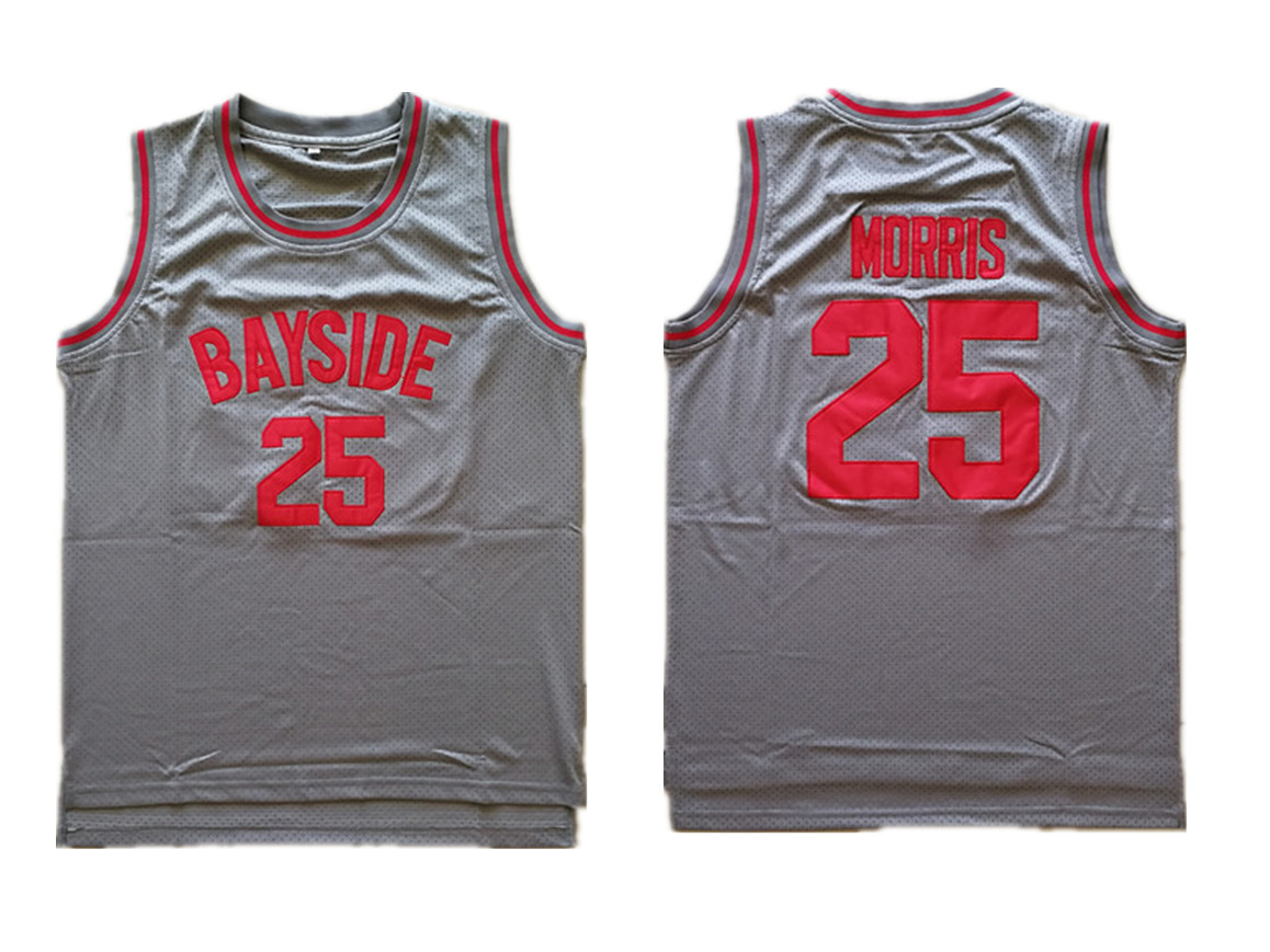 Bayside Tigers 25 Zack Morris Gray Stitched Movie Jersey