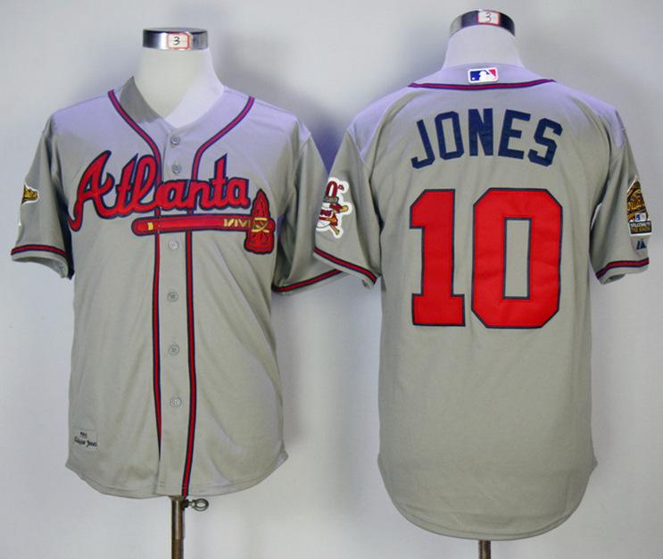 Braves 10 Chipper Jones Gray Throwback Jersey