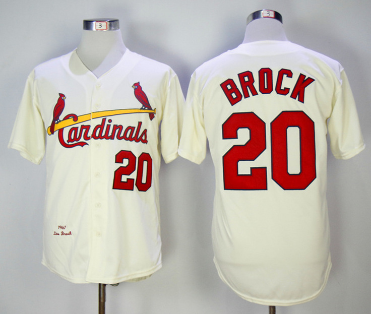Cardinals 20 Lou Brock Cream 1967 Throwback Jersey