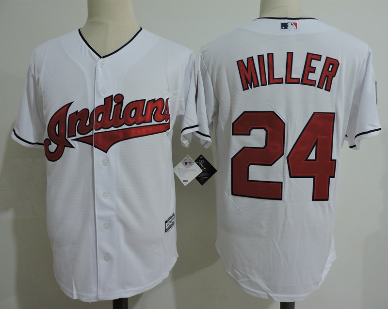 Indians 24 Andrew Miller White Cool Base Jersey