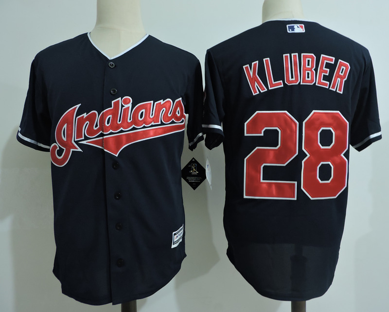 Indians 28 Corey Kluber Navy Cool Base Jersey