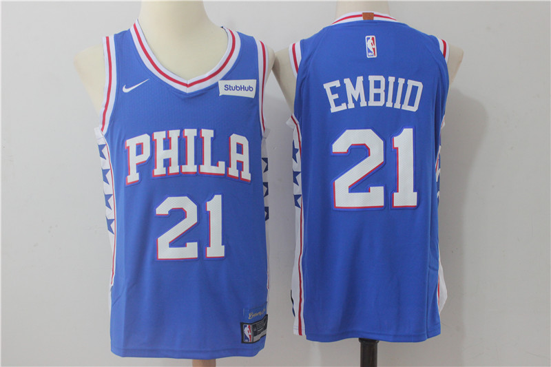 76ers 21 Joel Embiid Blue Nike Authentic Jersey