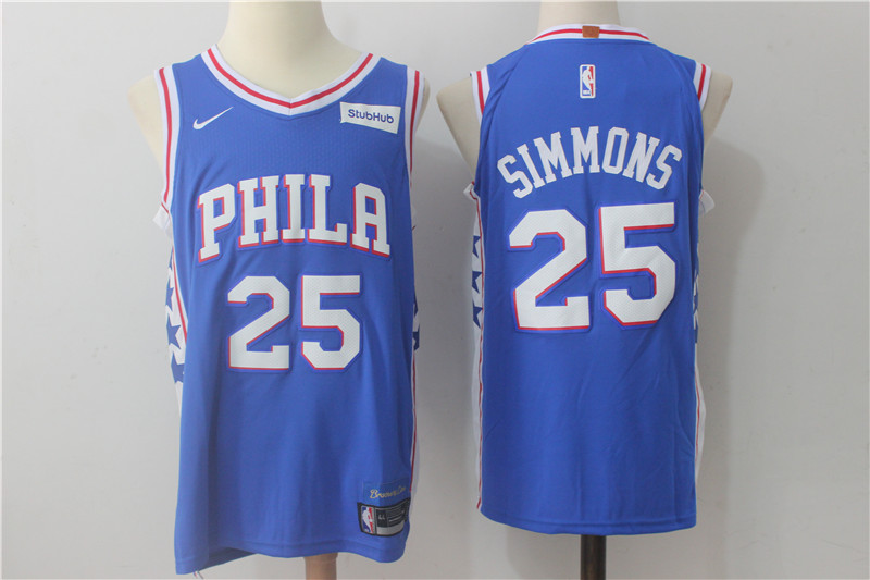 76ers 25 Ben Simmons Blue Nike Authentic Jersey