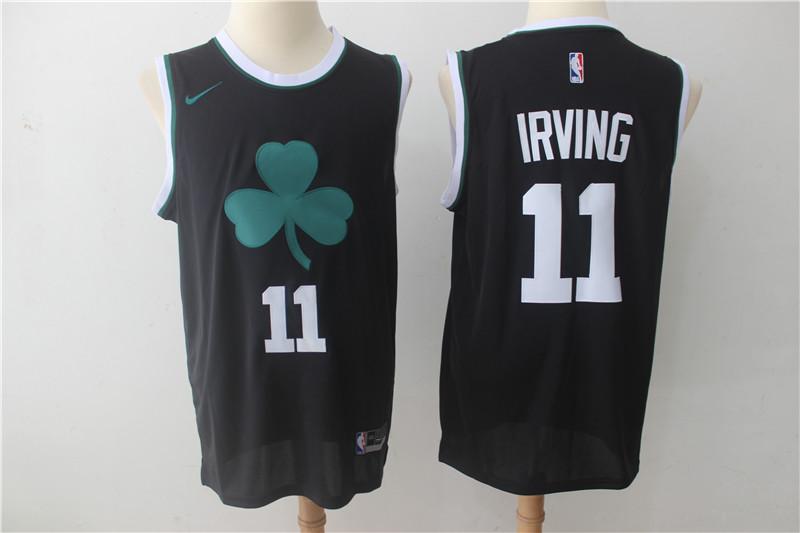 Celtics 11 Kyrie Irving Black Clover Logo Nike Swingman Jersey