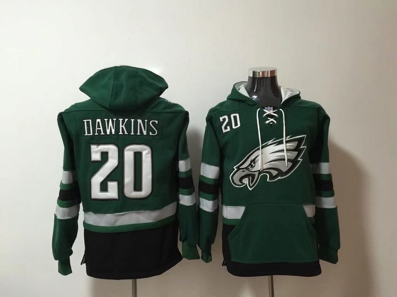 Philadelphia Eagles 20 Brian Dawkins Green All Stitched Hooded Sweatshirt