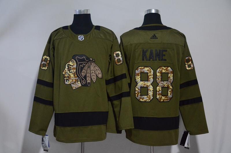 Blackhawks 88 Patrick Kane Olive Adidas Jersey