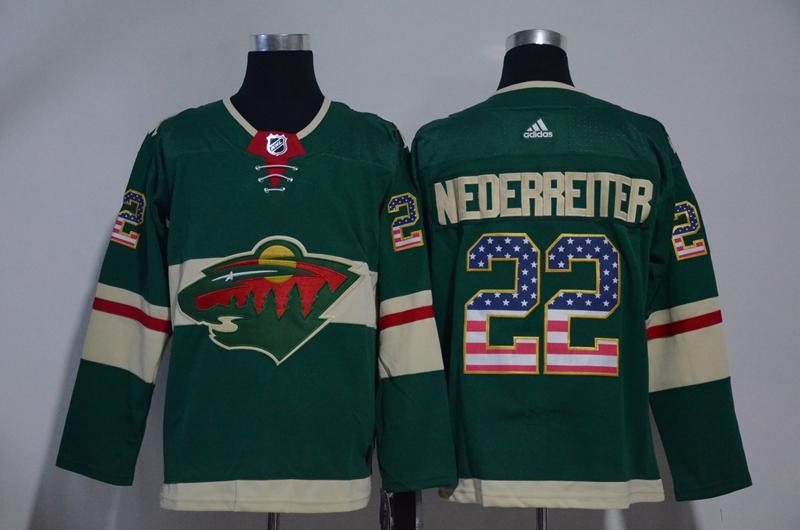 Wild 22 Nino Niederreiter Green USA Flag Adidas Jersey