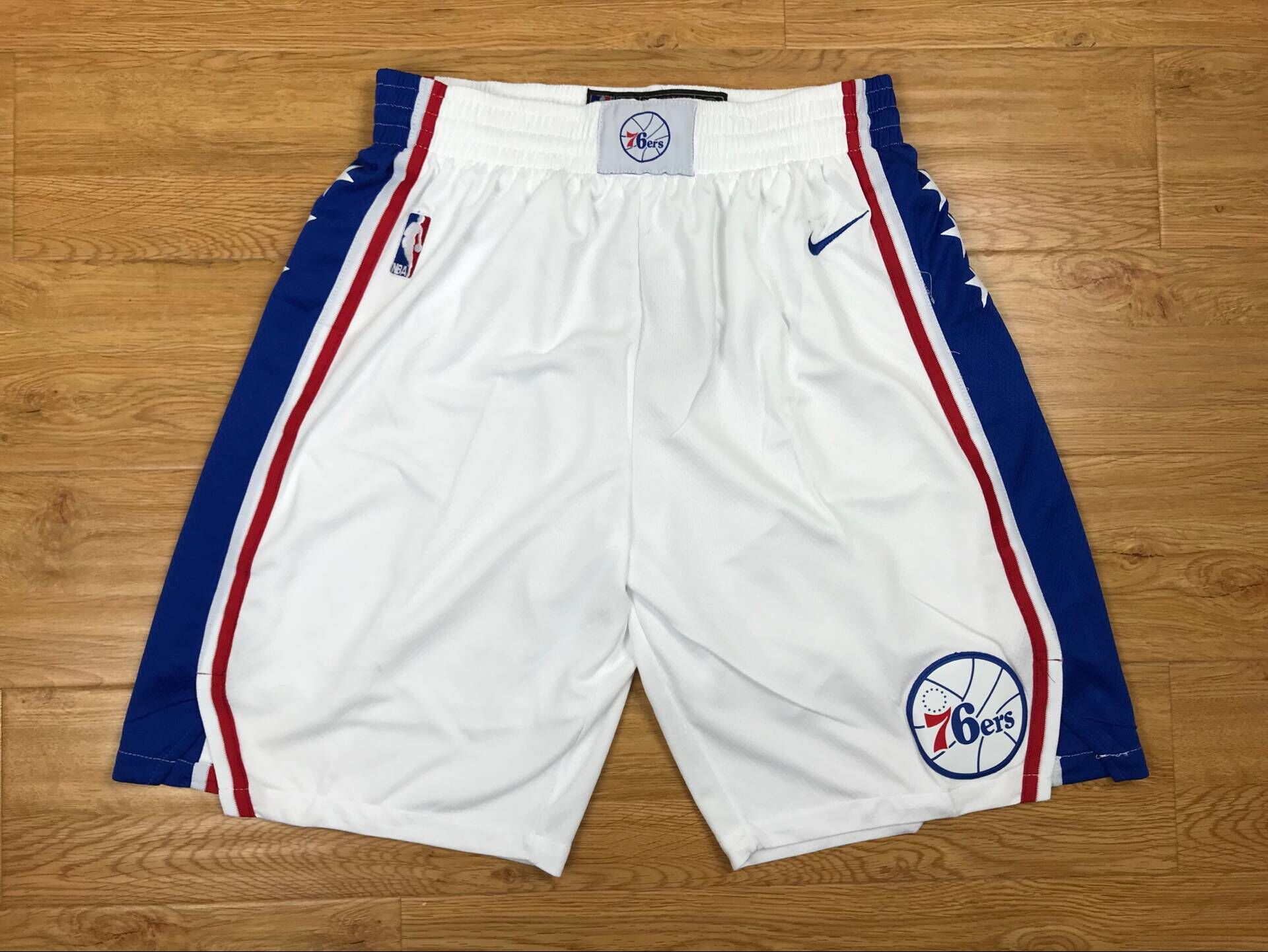 76ers White Nike Authentic Shorts
