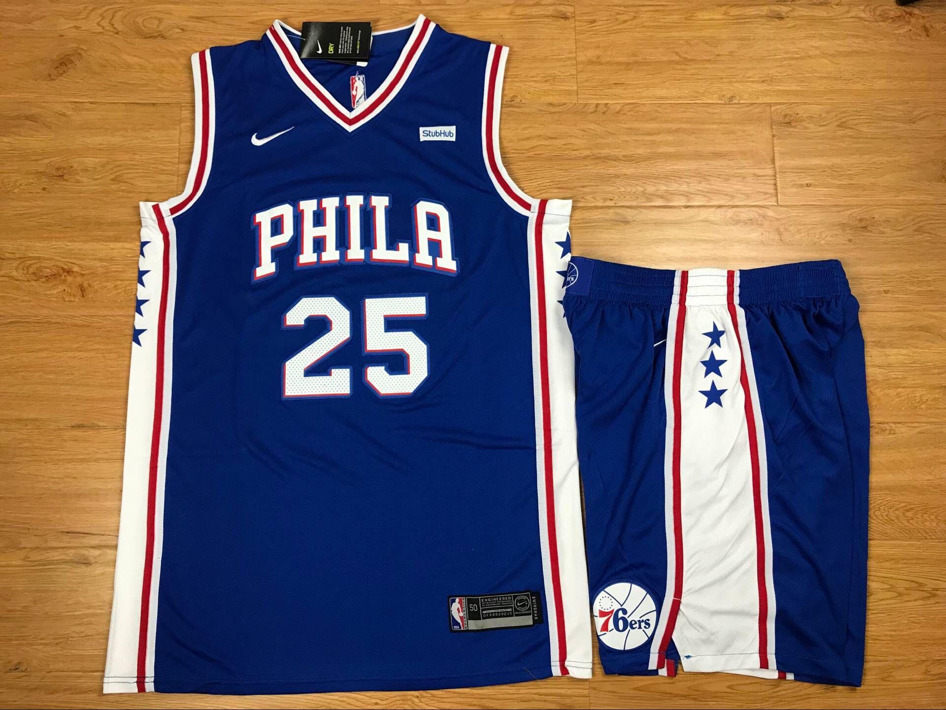 76ers 25 Ben Simmons Blue Nike Swingman Jersey(With Shorts)