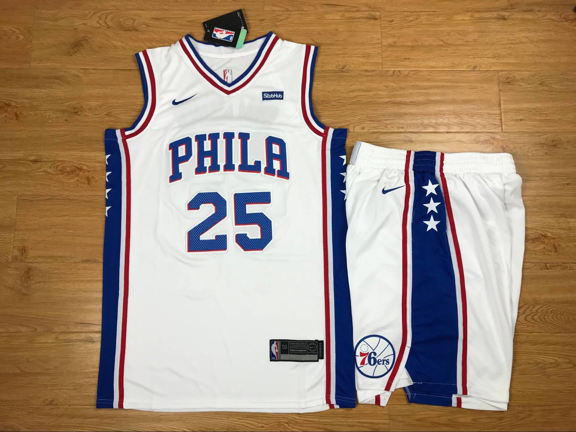 76ers 25 Ben Simmons White Nike Swingman Jersey(With Shorts)