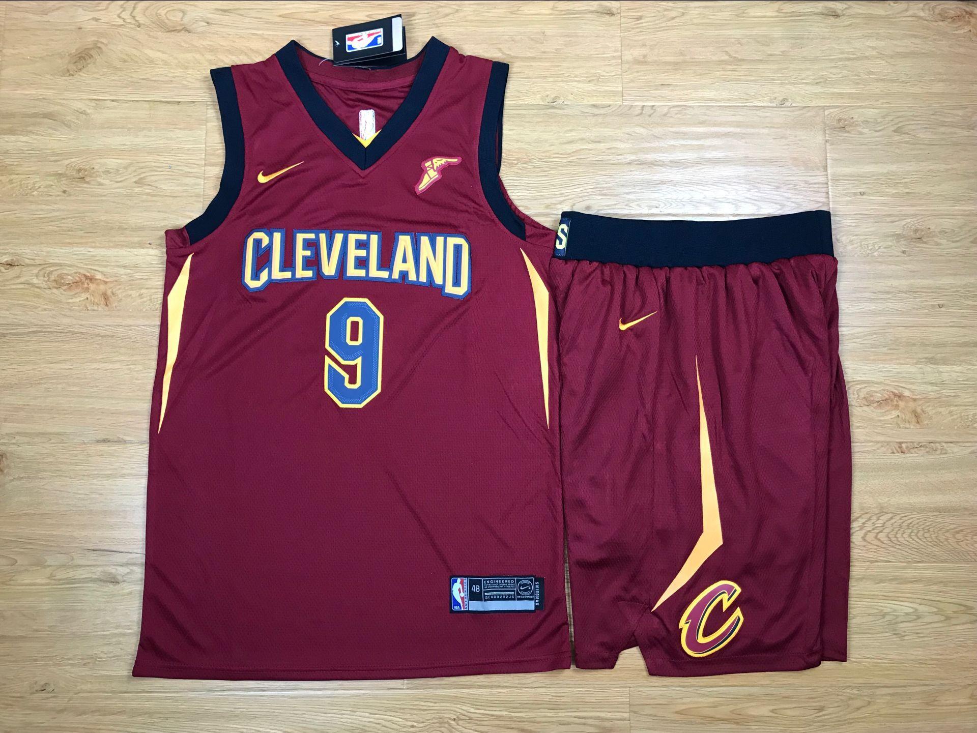 Cavaliers 9 Dwyane Wade Red Nike Swingman Jersey(With Shorts)