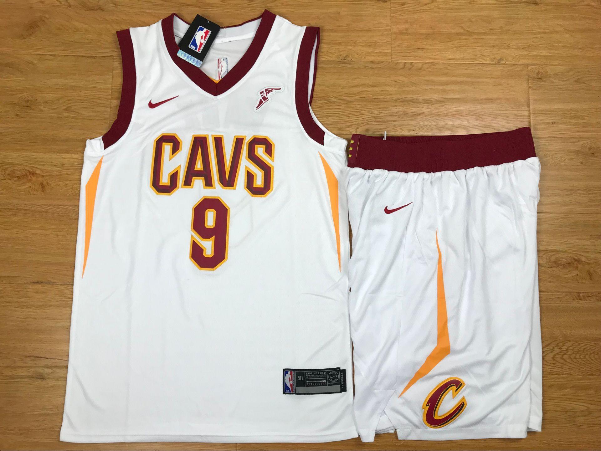 Cavaliers 9 Dwyane Wade White Nike Swingman Jersey(With Shorts)