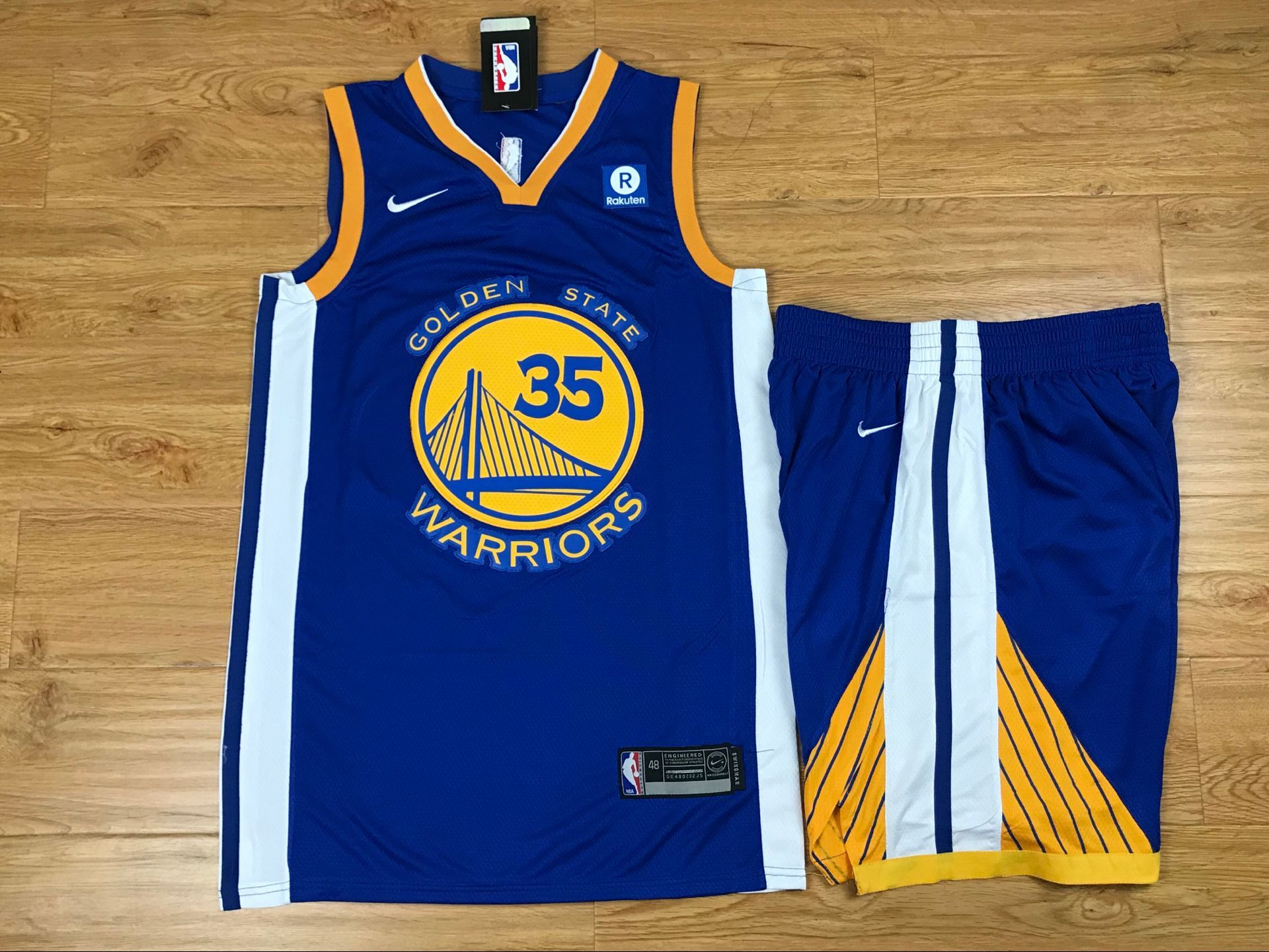Warriors 35 Kevin Durant Blue Nike Swingman Jersey(With Shorts)