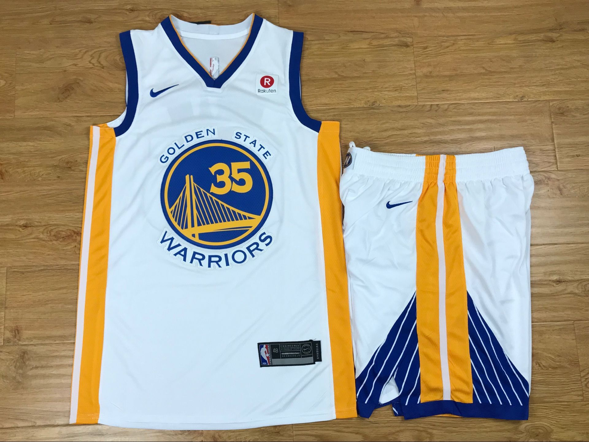 Warriors 35 Kevin Durant White Nike Swingman Jersey(With Shorts)