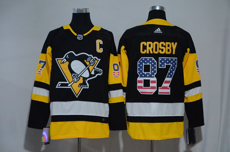 Penguins 87 Sidney Crosby Black USA Flag Adidas Jersey