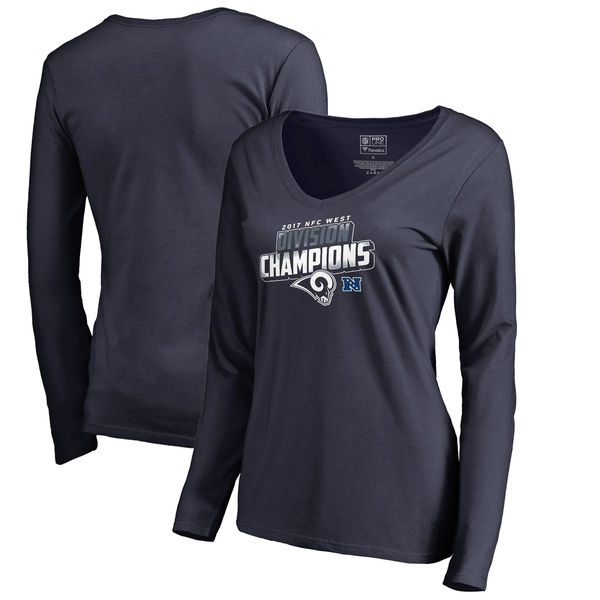 Los Angeles Rams NFL Pro Line by Fanatics Branded Women's 2017 NFC West Division Champions V Neck Long Sleeve T Shirt Navy