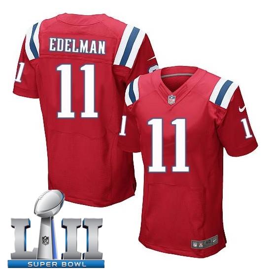 Nike Patriots 11 Julian Edelman Red 2018 Super Bowl LII Elite Jersey