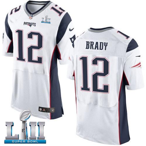 Nike Patriots 12 Tom Brady White 2018 Super Bowl LII Elite Jersey