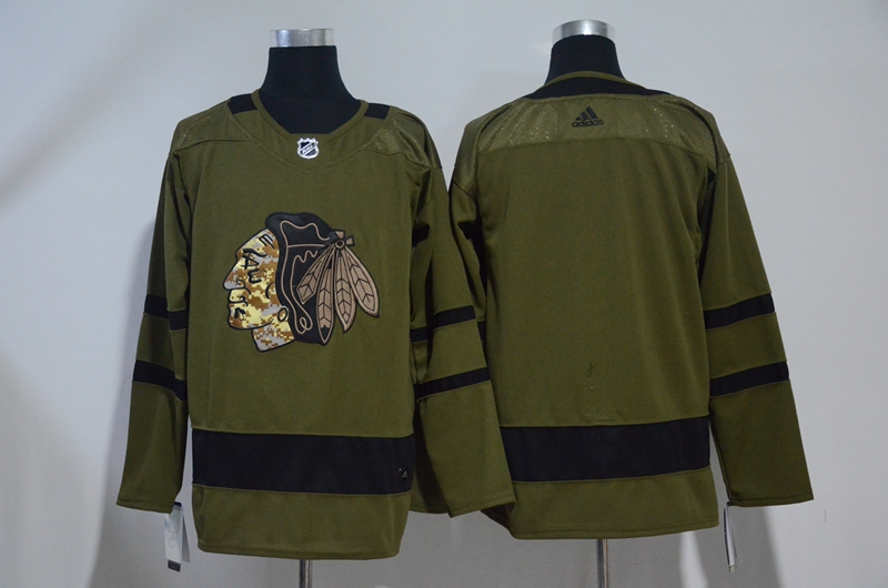 Blackhawks Blank Olive Adidas Jersey