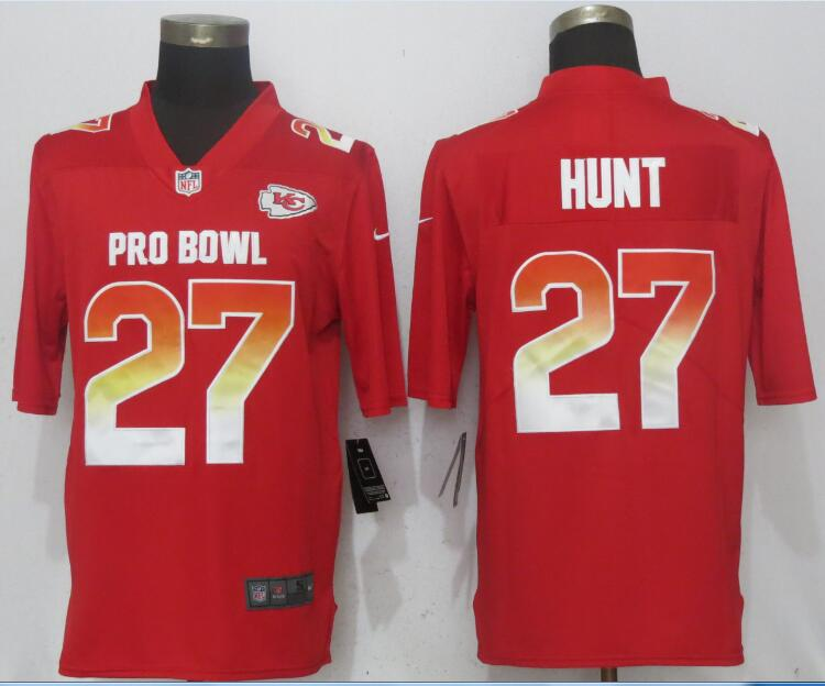 Nike AFC Chiefs 27 Kareem Hunt Red 2018 Pro Bowl Game Jersey