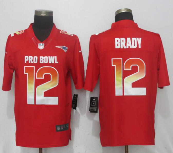 Nike AFC Patriots 12 Tom Brady Red 2018 Pro Bowl Limited Jersey