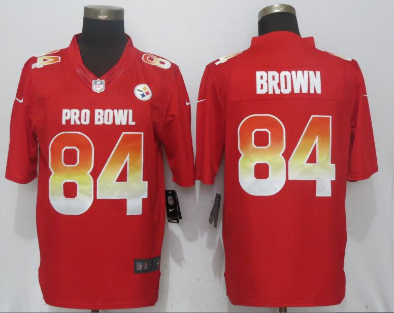 Nike AFC Steelers 84 Antonio Brown Red 2018 Pro Bowl Limited Jersey